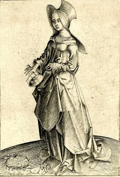 1465-1500 The second foolish virgin; standing towards the left Engraving, Print made by: Israhel van Meckenem. Shows the overcoat.