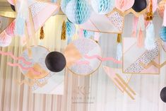 """Joanne's """"Memphis Design"""" Inspired Party – Ceiling 90s Theme, Dancing Baby, Memphis Design, 1st Birthdays, Ceiling Design, Party Themes, Party Ideas, Baby Design, Product Launch"""
