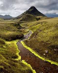 This picture is from the Laugavegur trail in Iceland. The mountain pictured is Stóra Súla (E. Big Column), on the section between the Hvanng...
