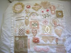 finished stitching sampler by skblanks Embroidery Sampler, Embroidery Applique, Cross Stitch Embroidery, Embroidery Patterns, Fabric Art, Fabric Crafts, Sewing Crafts, Sewing Projects, Fabric Journals
