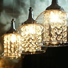 sparkly Diy Pendant Light, Crystal Pendant Lighting, Pendant Lamp, Crystal Lights, Pendant Lighting Bedroom, Glass Crystal, Interior Lighting, Home Lighting, Kitchen Lighting