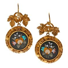 Antique Pietra Dura Yellow Gold Victorian Earrings c. 1860 - extra-fine pietra dura earrings. The quality of this pietra dura marbling is fantastic, particularly in conjunction with its incredible handmade settings which was fabricated in a congruent floral motif of curling golden vines and chased leaves.
