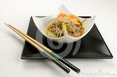 Shrimp Yakisoba, noodles with prawn, traditional chinese plate