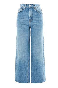 MOTO Mid Blue Cropped Wide Leg Jeans