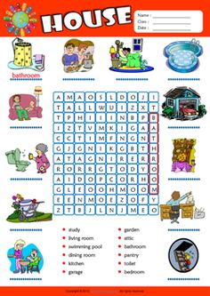Parts of a House Word Search Puzzle ESL Vocabulary Worksheet