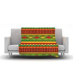 """Louise Machado """"Egyptian"""" Red Orange Fleece Throw Blanket"""