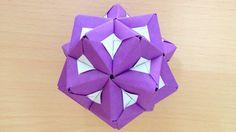折り紙のくす玉 薗部式 花2 裏出し30ユニット 折り方 Origami Kusudama sonobe flower2 inside out ...