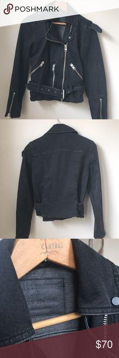 Allsaints women's long denim biker jacket edgy jacket, quality construction and detail, never worn! Allsaints Jackets & Coats Jean Jackets