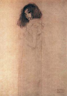 likeafieldmouse:  Gustav Klimt- Portrait of a Young Woman (1896-7)