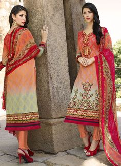 Shop online for party wear salwar kameez and designer salwar kameez. Buy this cotton   embroidered and print work multi colour churidar designer suit.