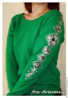 Купить Декор свитшота стразами - стразы пришивные, украшение одежды, декор одежды, Декор, зеленый