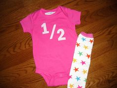 birthday 6 month Onesie and Legwarmer. I could easily DIY this. Half Birthday, 12th Birthday, Birthday Ideas, Little Fashion, Baby Party, Baby Month By Month, Infants, Birthday Shirts, Leg Warmers