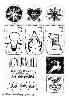 Des jolies étiquettes de Noël signées Camille A télécharger depuis le blog: http://www.macocobox.com/blog/calendrier-de-lavent-14-decembre-2013/