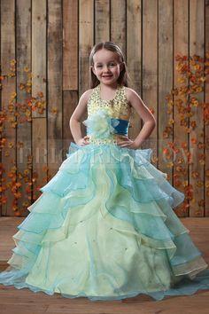 Beautiful Ball Gown Halter Tiered Floor-length Flower Girl Dress