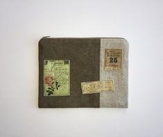 Makeup bag of natural linen decorated vintage elements US$19   #linenpouch #linenmakeupbag #linencosmeticbag #girlfriengift #ecogift