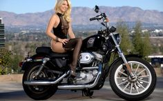 pretty girl in black lingerie and a harley davidson motorcycle wallpaper