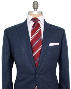 Belvest   Blue Graph Check with Navy Windowpane Suit