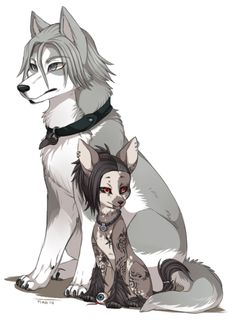 Dog!Yomo and Dog!Uta ||| Tokyo Ghoul Dog AU Fan Art by poochiena on Tumblr