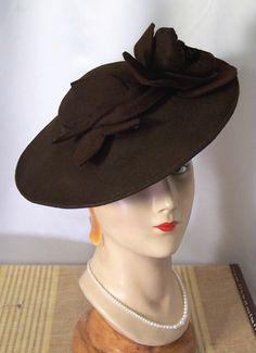 Circa Late 1930s 1940s Brown Felt Wide Brim Tilt Hat