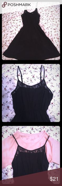 NWOT H&M Sexy Black Dress with Lace on Front ♠️NWOT. I only washed it once and never wore it on. ♠️Quite elegant black dress with sexy lace on front. Perfect for a night out with boyfriend and besties!🍷🥂🍻 ♠️Size 2. Shoulder straps are adjustable and the waist is quite stretchy, so the length and size for waist is quite flexible. ♠️No models and no trades please. Just trying to downsize.☺️☺️ ♠️Please check my other listings and bundle to save more🎉🎉 H&M Dresses Midi