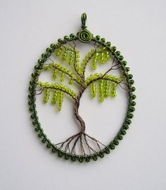 Beautiful variation of the Tree of life pendant! Spanish Moss wire wrapped pendant by...