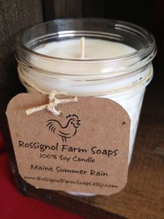 Maine Summer Rain Soy Candle in 8oz Jelly Jar on Etsy, $7.00