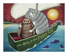 the OWL and the PUSSYCAT   an Original Signed by SeaGardenCottage, $18.00