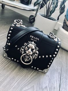 Prada cahier lion head black and silver chain strap Ana Maria bag. Prada noteb - Gucci Backpack - Ideas of Gucci Backpack - Prada cahier lion head black and silver chain strap Ana Maria bag. Prada Handbags, Handbags On Sale, Purses And Handbags, Cheap Handbags, Popular Handbags, Wholesale Handbags, Cheap Bags, Fendi Purses, Clutch Handbags