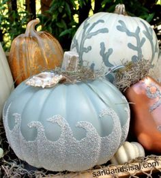 Beautifully Painted Pumpkins with a Coastal, Beach