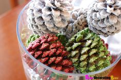 How to easy pine cones centerpiece glittery decorate