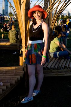STYLE NOTES: ALL POINTS WEST.     Name: Mary Riley.   Wearing: Reworked vintage skirt, flea market beads, Feivue shoes from Chinatown.   Style: Down and dirty.   Came to see: CSS, Radiohead