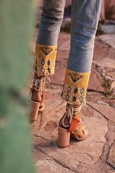 Boho trim with lace up heels