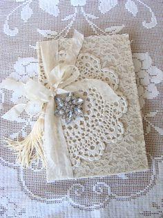 Vintage Lace Doily Wedding Journal Wedding Memory by ShabbySoul