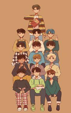 I love Park Jimin Carat Seventeen, Seventeen Album, Seventeen Memes, Mingyu Seventeen, Won Woo, Kpop Drawings, Seventeen Wallpapers, Fanarts Anime, Kpop Fanart