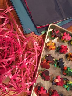 made with the kiddo - shaped crayons (class valentine sweatshop)