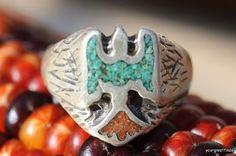 Vintage 1960's Southwestern Sterling Silver Red by Yourgreatfinds, $39.99