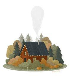 Red Cabin in the Wood, digital illustration, autum Art And Illustration, Landscape Illustration, Animal Illustrations, Illustrator, Guache, Free Gift Cards, Autumn Art, Grafik Design, Halloween Art