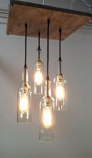 Recycled Wine Bottle Chandelier: Industrial Chandelier, Cottage Chic Lighting, Industrial Lighting, Modern Lighting, Mid-Century Decor Recycled Wine Bottle Chandelier - *This Item Was Featured On The Lampe Industrial, Industrial Chandelier, Industrial Lighting, Modern Lighting, Lighting Design, Lighting Ideas, Industrial Style, Pendant Lighting, Kitchen Lighting