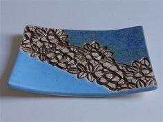 blue ceramic soap dish lace decor by bemika on Etsy, $10.00