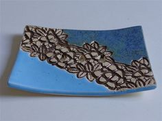 blue ceramic soap dish lace decor by bemika on Etsy, $10.00