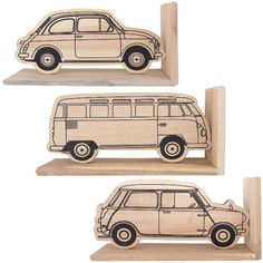 Cool vintage wooden car bookends for kids' rooms