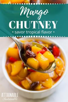 Sweet, savory, and spicy, this mango chutney is great with fish and chicken, or inside your favorite sandwich. Or even just on a spoon. This mango chutney can be served fresh or processed in a water bath canner for a shelf stable pantry item. Preserving Recipe, Canning Recipes, Canning 101, Home Recipes, Real Food Recipes, Water Bath Cooking, Fish And Chicken, Eat Seasonal, Dehydrated Food
