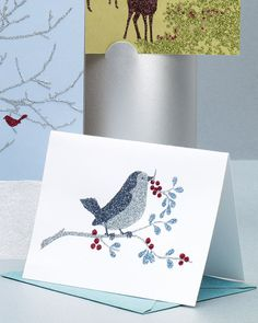 Make handwritten notes even more special with nature-inspired cards you create yourself. Print our clip-art bird and berry design onto card stock, apply glue using a fine-tipped bottle, and cover with glitter. Use a limited palette to yield an elegant look.Sources24-piece Essential Colors glitter set, by Martha Stewart Crafts, available at marthastewartcrafts.com and MichaelsGlittering glue (craft glue) with fine-tip applicator, by Martha Stewart Crafts, from MichaelsBaking cups (to hold…