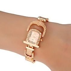 Women's Dress Style steel Band Quartz Wrist Watch (Assorted Colors)