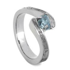 Aquamarine Engagement Ring, Palladium Ring With Partial Meteorite Inlays and a Rough Cut Aquamarine Center Stone
