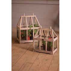 Wood And Glass Terrarium, Set Of 2 Kalalou Decorative Objects Decorative Accessories Home