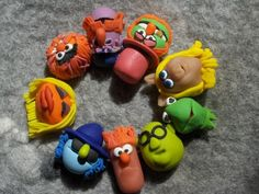 polymer clay Muppet bracelet!  Want to do this with Wallace and Gromit characters....