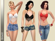 Downloaded - A set consisting of a crochet top with small fringes and three denim shorts in various lengths and styles. If your sims like denim, they will go crazy for this shopping. Found in TSR Category...
