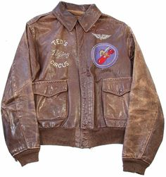 """WWII US 8th Air Force Painted A-2 Flight Jacket From B-24 """"Lil Abner"""" Ted' Flying Circus (Front)"""
