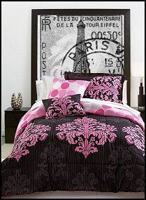 Turn up the pink! The perfect balance of dramatic and whimsical, these Matador comforter sets boast a tonal stripe design embellished with pink medallion designs. Reverses to a pink dot pattern.